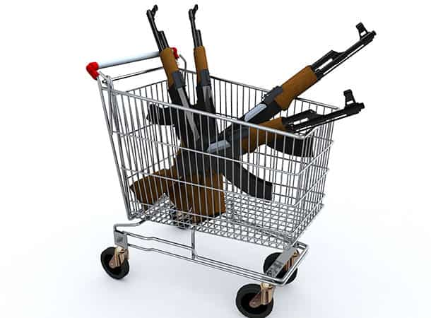 Firearms in a shopping trolley